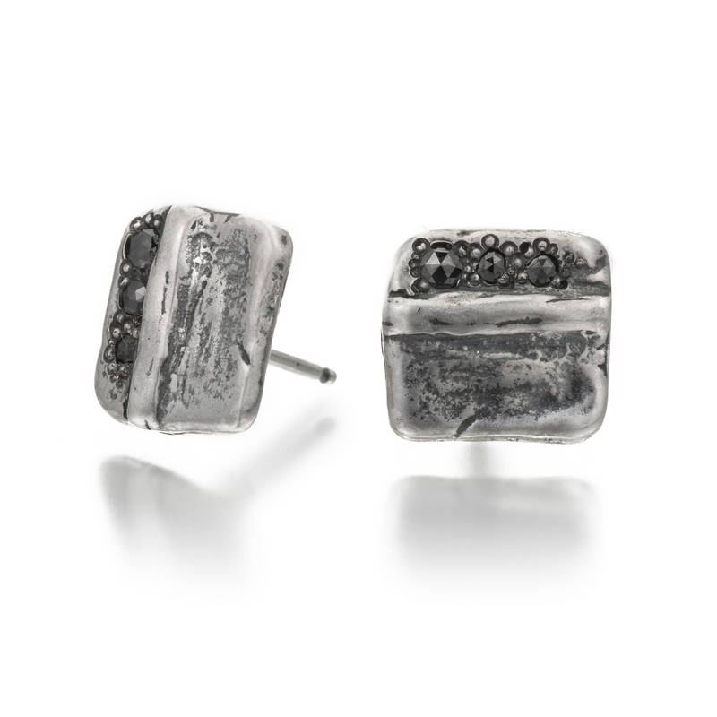 Be Square Black Diamond Studs